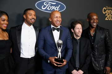 "51st NAACP Image Awards – Photo Room– Pasadena - Bryan Stevenson and the cast of ""Just Mercy"" pose backstage with their Outstanding Motion Picture award"
