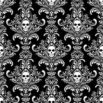 Gothic Skulls damask style black and white seamless pattern