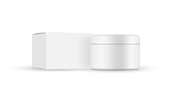 Cosmetic jar with packaging box mockup isolated on white background. Vector illustration