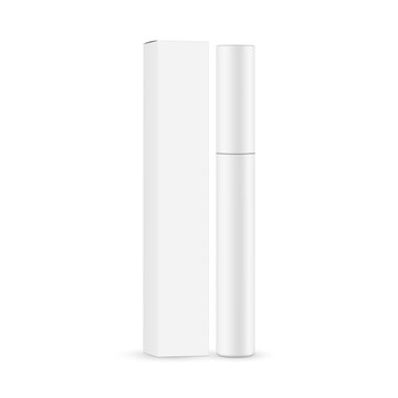 Mascara tube with paper box mockup isolated on white background. Vector illustration