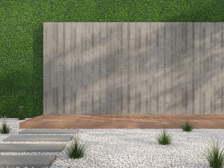 Empty loft style wall in the garden 3d render,There are white stone ground,wooden terrace,blank concrete wall with wood plan stemped on green wall background