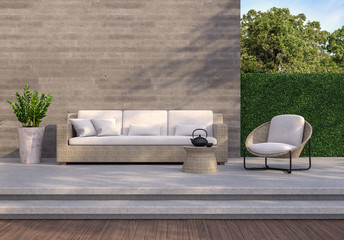 Fotorollo Dunkelgrau Loft style outdoor living area 3d render,There are wooden and concrete floor,rough concrete wall with wood plank stemped,green plant fence,decorate with ratten and fabric furniture.