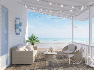 Fototapeta The wooden house terrace on the beach 3d render,Tthere has old wooden floors,white plank walls,blue doors decorated with fabric and rattan furniture, decorated with string lights, overlooking the sea. obraz
