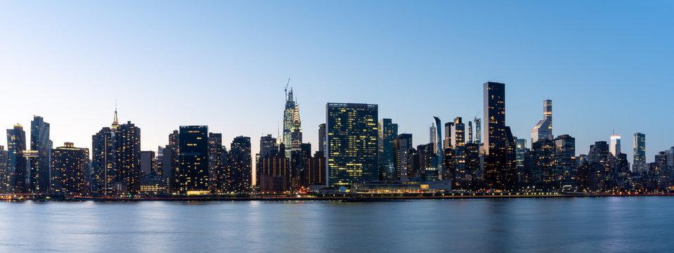 New York, NY/USA - February 22, 2020: New York City Skyline at Night