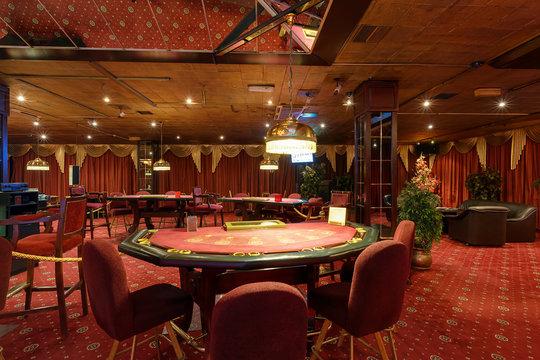 LAS VEGAS, USA - MAY, 2017: interior of elite luxury vip casino with poker tables