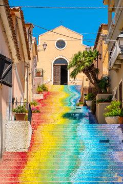 Arzachena, Sardinia; Italy - Famous stairs of Saint Lucia leading to the Church of Saint Lucia - Chiesa di Santa Lucia - in Arzachena, Sassari region of Sardinia