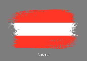 Austria official flag in shape of brush stroke