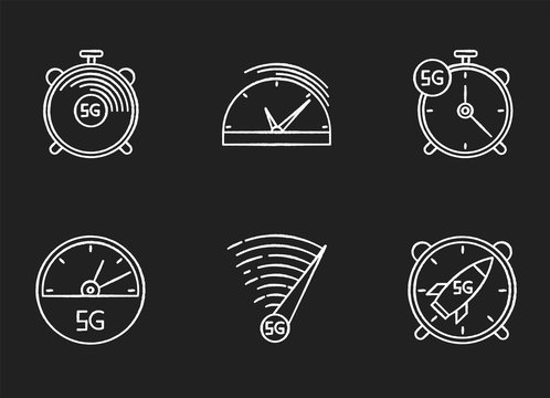 5G fast speed connection chalk white icons set on black background. Stop-watches, speedometer. Mobile cellular network. Low latency Internet access. Isolated vector chalkboard illustrations