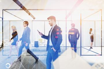 Fotobehang - Business people in office, big data interface