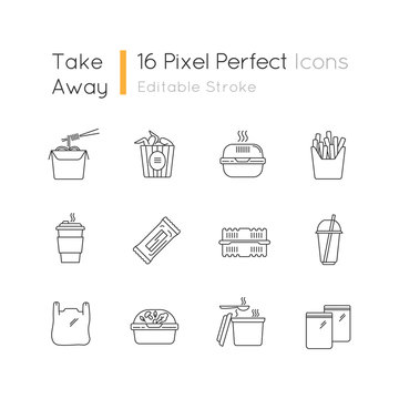 Takeaway food packages pixel perfect linear icons set. Customizable line symbols. Take out meal containers. Noodles, bucket of wings. Contour symbol.Vector isolated outline drawing. Editable strokes