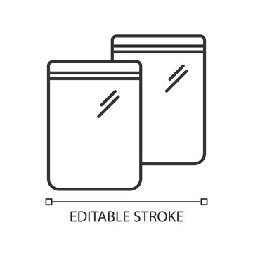 Zip bag pixel perfect linear icon. Customizable thin line contour symbols. Empty plastic package. Food ziplock packet, pvc sachet. Snack pouch. Vector isolated outline drawing. Editable strokes