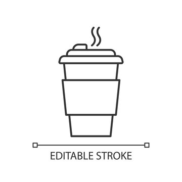 Coffee to go pixel perfect linear icon. Thin line customizable illustration. Caffeine drink. Hot beverage, tea disposable mug with lid. Takeout cappuccino. Vector isolated drawing. Editable stroke