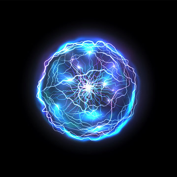 Isolated energy ball made of lightning. Glowing realistic blue circle or abstract vector bright sphere, magic electrical bolt. Plasma and thunder, thunderstorm and orb, thunderbolt, storm ring. Power