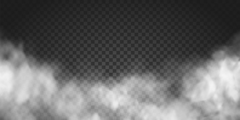 Vector realistic smoke cloud or gray fog, rocket or missile launch pollution. Abstract gas on transparent background, vapor machine steam or explosion dust, dry ice effect, condensation, fume