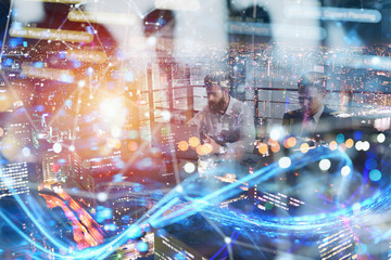 Business people collaborate together in office. Internet connection effects. Double exposure