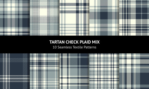 Plaid pattern set. Seamless tartan check plaid background in dark blue, grey, and off white for flannel shirt, dress, blanket, throw, duvet cover, or other modern textile design.