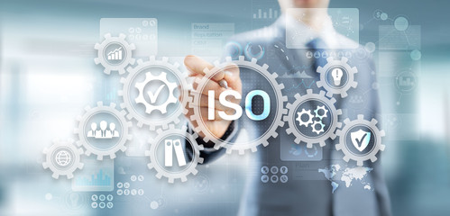 Fototapeta ISO standards quality control assurance warranty business technology concept. obraz