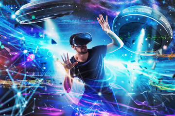 Poster UFO Shocked boy plays with online ufo videogames. Concept of technology and entertainment
