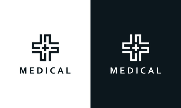 Minimalist elegant line art medical logo. You can find medical plus icon in the middle place.