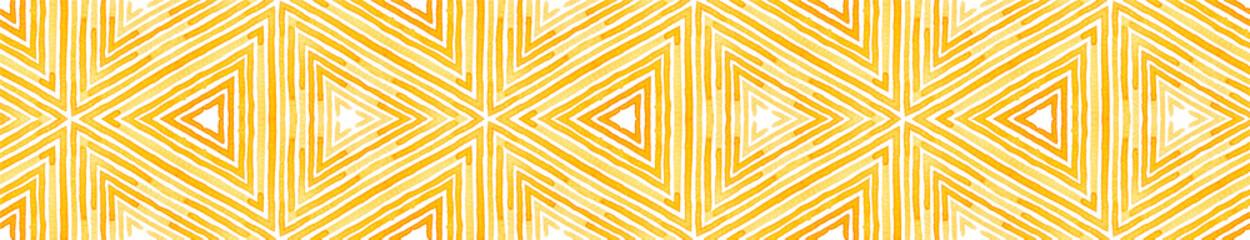 Orange Seamless Border Scroll. Geometric Watercolo Wall mural