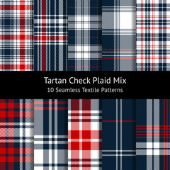 Plaid pattern set. Tartan seamless check plaid graphics in dark blue, red, and white for flannel shirt, blanket, duvet cover, or other modern spring, summer, autumn and winter textile design.