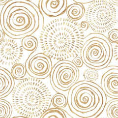 Abstract seamless pattern with golden glittering acrylic paint round spiral circles on white background