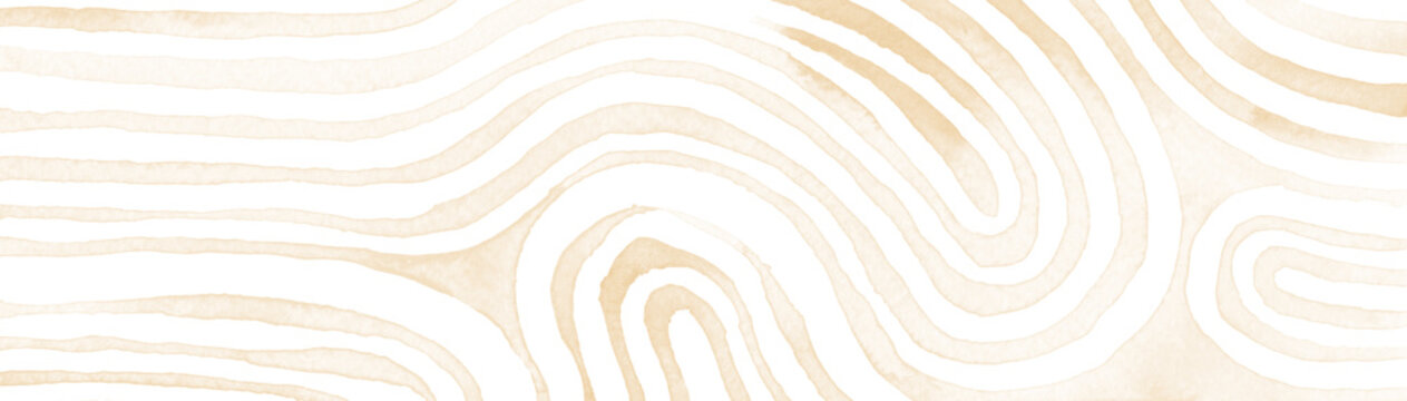 Beige abstract stripes watercolor horizontal background. Inspired by tribal body paint. Raster banner template.