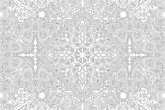 Art for adult coloring book with linear pattern