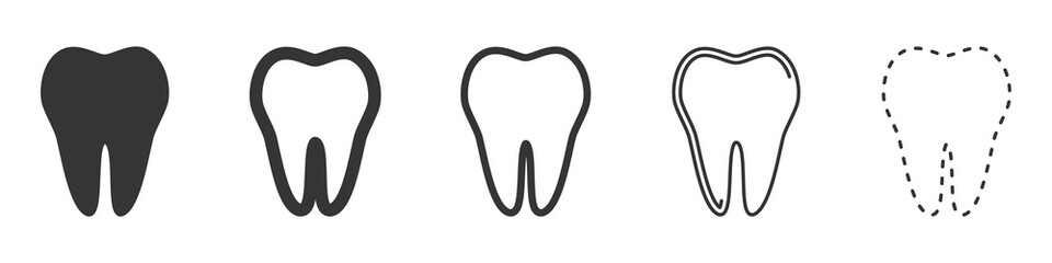Set of Tooth vector icons. Vector illustration.