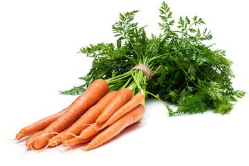 Fototapeta Bunch of new carrots isolated on white obraz