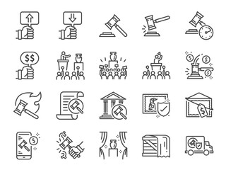 Auction line icon set. Included icons as hammer, price, bidding, judge, auction hammer,painting, deal and more.
