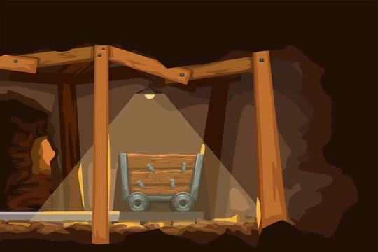 cartoon miner wagon side view