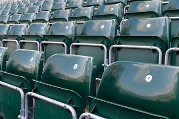 row of seats in a soccer stadium