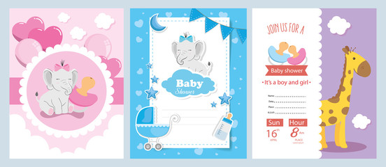 set of baby shower cards with cute decoration vector illustration design
