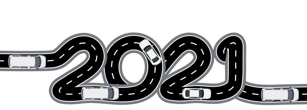 2021 New Year. The road with markings is stylized as an inscription. Car traffic. Isolated illustration