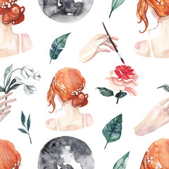 Seamless pattern with watercolor Moon, red haired girl, roses and leaves. Watercolor mystical artist background