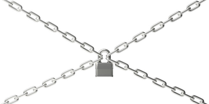 Padlock closed on four chains isolated against white background. 3d illustration