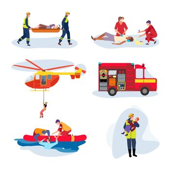 Emergency rescue team, help people cartoon characters, set isolated on white, vector illustration. Lifeguard save drowning man, brave firefighter holding kid. Rescue helicopter and paramedics team set