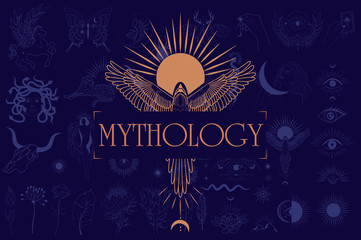 Mythology and mystical poster illustrations in hand drawn style with sun and phoenix, mythical creature, esoteric and boho objects. Editable Vector Illustration