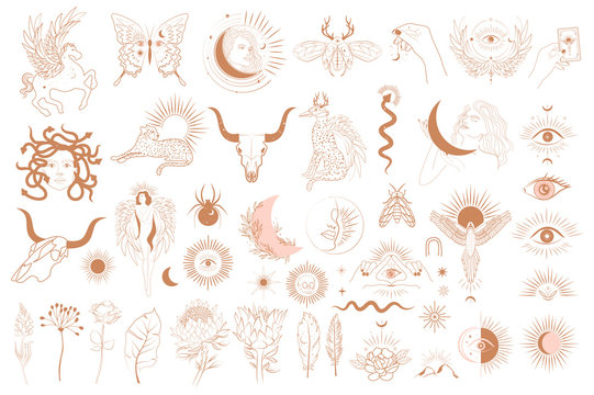 Collection of Mythology objects, fantasy animals, mythical creature, esoteric and boho objects, woman and moon, snake and evil eye. Minimalistic objects one linestyle. Editable Vector Illustration.