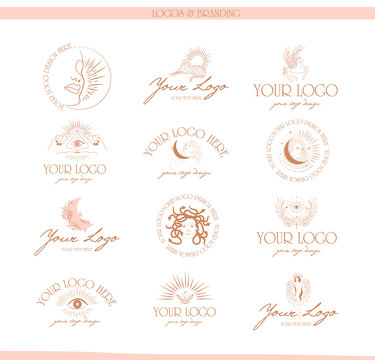 Collection of logos and icons in hand drawn style. Nature, Yoga, Skin care, Personal brand, psychology, astrology mythology and esoteric concept. Editable vector illustration.