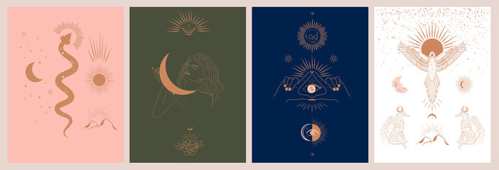 Collection of mythology and mystical illustrations in hand drawn style. fantasy animals, mythical creature, esoteric and boho objects, woman and moon, snake and evil eye. Vector Illustration Wall mural