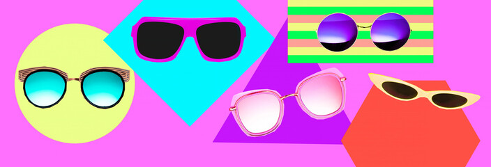 Contemporary art collage. Stylish sunglasses set. Fashion minimal concept