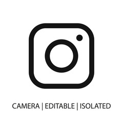 Instagram logo. Dark isolated outline instagram icon. Line camera icon design flat vector in line style. Capture concept. Isolated on white.
