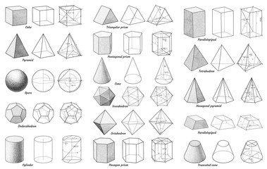 Geometry shapes and areas with formulas, marks illustration, drawing, engraving, ink, line art, vector