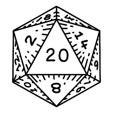 black line tattoo of a d20 dice