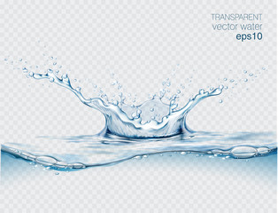 Fototapeta Blue transparent water splashes and drops. Realistic isolated vector illustration  obraz