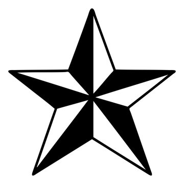 black line tattoo of a star