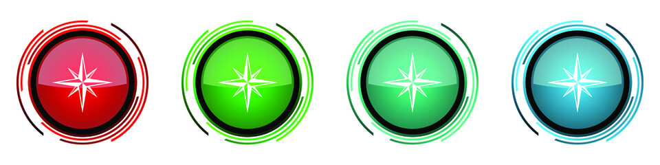Fotomurales - Compass round glossy vector icons, set of buttons for webdesign, internet and mobile phone applications in four colors options isolated on white background
