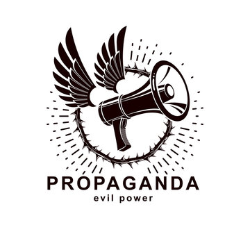 Vector winged logo composed with loudspeaker equipment surrounded by thorn of crowns. Public relations concept, propaganda as a powerful weapon of influence on social behavior.